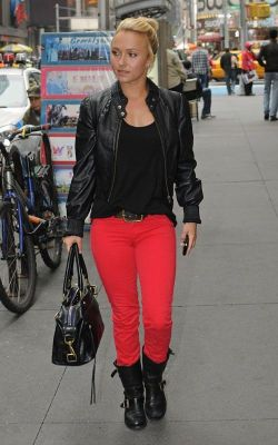 Hayden Panettiere in bright red jeans