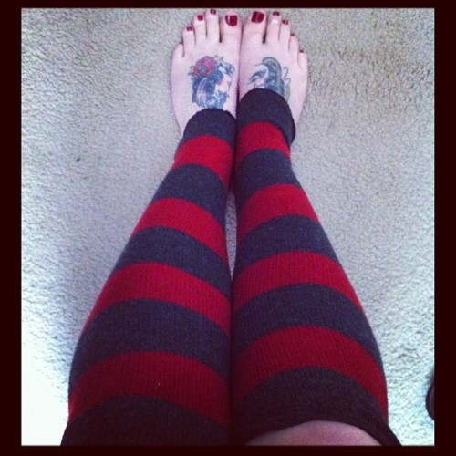 Freddy Kruger Recycled Sweater Leg Warmers! #legwarmer #horror #freddykruger #tattoo #feet (Taken with instagram)