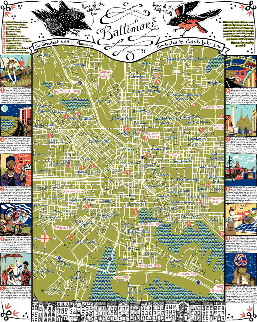 Illustrated Map of Baltimore- 22x28, prints for purchase here. High-Res on flickr.