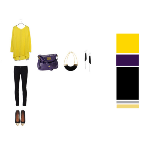 A basic outfit with bright accents to fight the gloomy weather! ♥ Sweater, Modekugen♥ Jeans, Levi's♥ Ballet flats with gold caps, Givenchy♥ Bag, Marc by Marc Jacobs♥ Necklace, H&M♥ Earrings, Monki