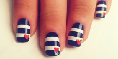"Nautical Nails by @TBDofficial. The Beauty Department brings you this gorgeous tutorial on nautical nails! How very Petit Bateau and that American Apparel ""Passport Blue"" nail polish is to die for! I think the universe is telling me I need to vacation in the south of France this summer!"