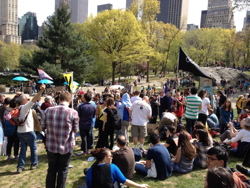 "thenationmagazine:  Occupy Unveils 'Spring Awakening'  During the long winter months, Occupy protesters kept reassuring those of us in the media still covering their actions that the spring would prove to be a time of resurgence for Occupy Wall Street. If the ""Spring Awakening"" meet-up at Central Park this past weekend is any indication of future turnouts, OWS organizers may be correct in their predictions.  Read More…"