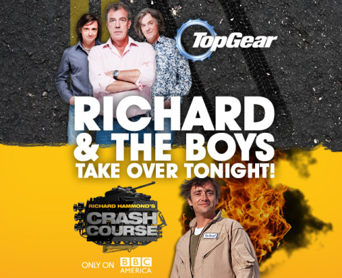topgear:  Today is The Day. Top Gear Season 18 gets its US Premiere at 8/7c tonight with the India Special. Richard Hammond's Crash Course gets its World Premiere at 10/9c tonight. Both on BBC America.  #TopGear on @BBCAmerica. So the Americans can bask in the awesomeness that we Brits got to see first. <3