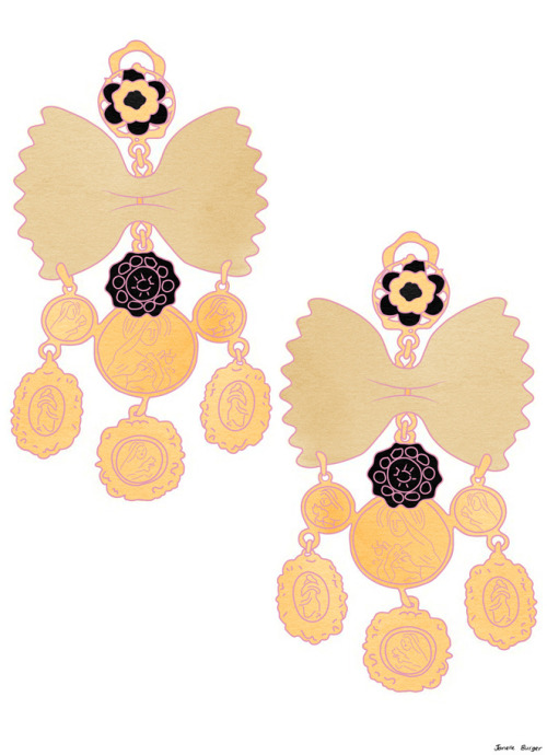 These earrings are too fun. And up for grabs! janelleburger: Dolce and Gabbana Bowtie pasta and cameo clip earrings.