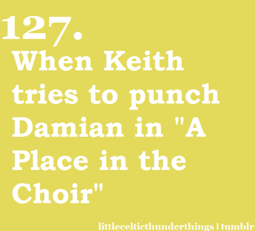 "littlecelticthunderthings:  little celtic thunder things #127: Keith trying to punch Damian in ""A Place in the Choir""watch this video he does it at about :40 http://littlecelticthunderthings.tumblr.com submitted by allyouneedis-love-tb"