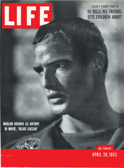 life:  On this day in LIFE Magazine… Marlon Brando as Antony in movie, 'Julius Caesar.' See more photos of Marlon Brando here.
