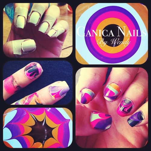 Canica Nails. (Marble) Spanish lesson for the day.✨💅✨ #nailart #nailartcult #esse #instatalent #painting #nailpolish #nails #mine #iphonography #beauty #paint (Taken with instagram)