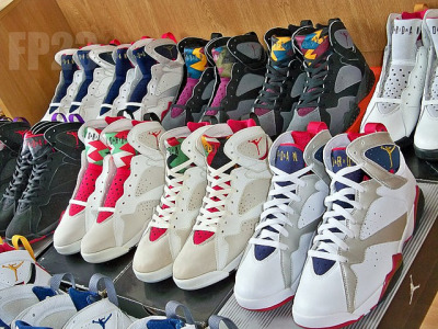 jstforkicks:  justjordans:  All them sevens… Air Jordan VII Collection: FirePower23  Firepower -.- I envy his collection. Everything is beautiful