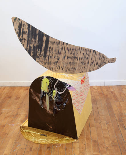 "Well, this looks beautiful. nycartscene:  Just Opened:""Undercover"" Joy Curtis, Rebecca Goyette, Carin Riley, Molly Stevens, Trish TillmanSlag Contemporary, 56 Bogart St., Brooklyn, NYdrawing, painting, sculpture and performance - thru May 2Rebecca Goyette's Bundling Bags call on participants to literally get under cover and hold hands. Trish Tillman combines home relics and furniture parts to construct private memorials and characters. They are present like furniture, but are non-functional, and as such, become unsettling talismans or companions. Carin Riley's diagrammatic mural Revolution represents underlying forces mapped according to ancient laws of fate and positioning. Molly Stevens's large-scale oil stick drawings put forward vigorous color, shape and line that communicate a direct, fully visual energy. Joy Curtis creates not-quite relics that are familiar at first, but then catch you by surprise. *Photo credits: David Riley, courtesy Slag Contemporary."