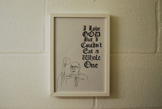 I Love God, But… (2011) - Darren Cullen.  Limited edition giclee print Original fine art print created using archival pigmented giclee inks and printed on heavyweight museum quality paper.Limited edition of 50.(All sizes count towards the edition)Signed and numbered on the front by the artist. Dated on the back.A4 (print) - £25 | A4 (framed) - £40A3 (print) - £38 | A3 (framed) - £55A2 (print) - £46 | A2 (framed) - £70Special instructions or requests welcome. Click here for more details.
