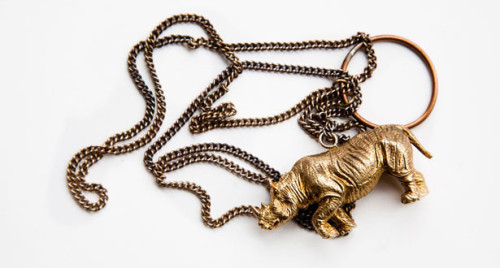 (Endangered) RHINO PENDANT by COLD PICNIC Available here, from Of a Kind.  Brass-cast, and made in NYC by Phoebe Sung and Peter Buer.  Isn't it lovely?? O, MY MY!
