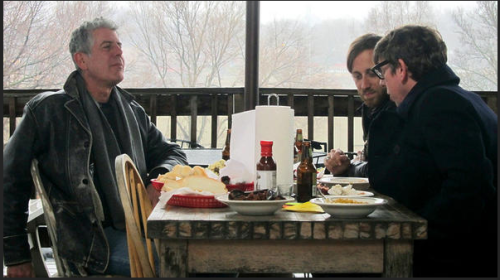 rachelinbrooklyn:  Anthony Bourdain and the Black Keys visit Kansas City on tonight's No Reservations. Sweet!   Quite a bit of cool at this table.