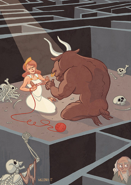 "Monsters & Dames: Slow Day in the Labyrinth on Flickr. My piece for the ""Monsters and Dames"" book, a themed collected of art by exhibitors at the 2012 Emerald City Comicon. Many contributions involve super-sexy ladies being menaced, so I tried for a slightly sweeter and more oblique take. EDIT:  Some folks have asked me if there's a print available of this image. Yup! It's right here in the ole' store."