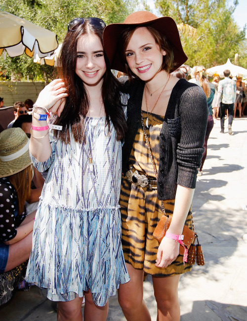 Emma Watson and Lily Collins at Coachella