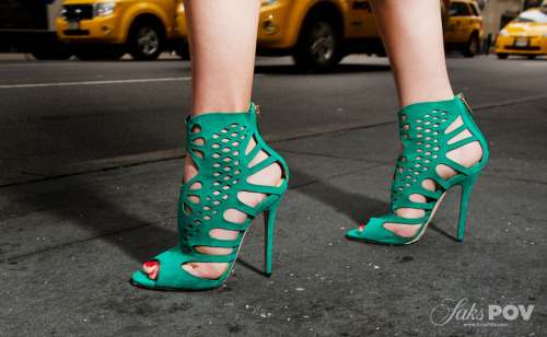 10022-shoe:  Teal suede cage Jimmy Choos are perfect for Sunday brunch! Where do your Choos take you?Photo by KSW