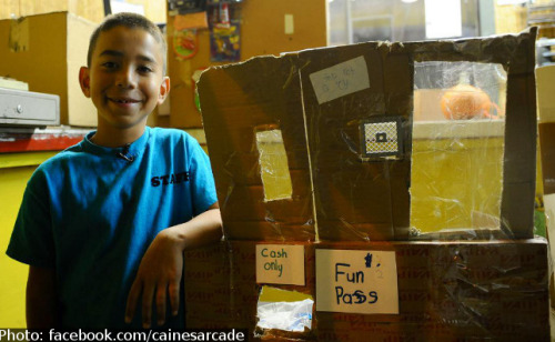 "Nine-year-old Caine Monroy of Los Angeles has created quite an attraction in his fathers auto parts store with an ""arcade"" made all by himself."