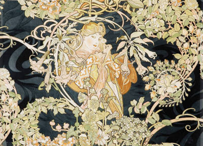 happinessispeachflavored:  Alphonse Mucha, Woman with Daisies.