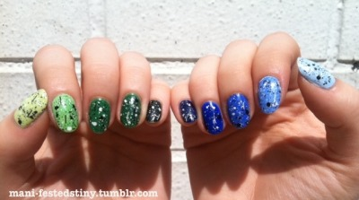 mani-festdestiny:  Green and Blue Ombré It's finally sunny in NYC, plus everything is better with Lynnderella's Connect The Dots…