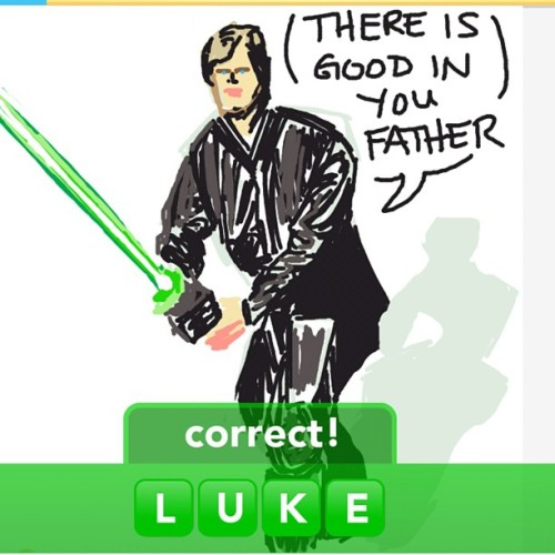 Another #DrawSomething… #Luke #StarWars #ROTJ #Draw #iPad #Sketch #Jedi #Knight #Skywalker  (Taken with instagram)
