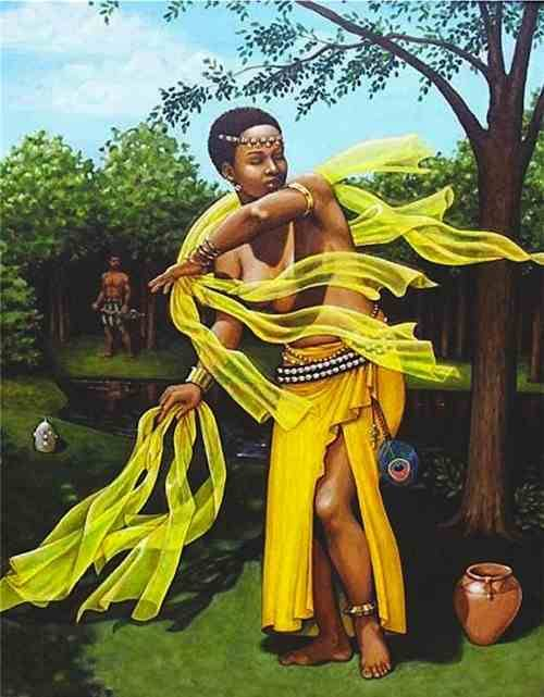 wildwalkerwoman:  Oshun, the Yoruban Goddess of love, delights in the creation of beauty and art, sensual delights and self-adornment. Her symbols are mirrors, jewelry, honey, golden silks and feather fans. Creativity in decorating home and temple is a way of honoring Oshun, who will bless any beautiful space created in Her honor. There is no object so common that Oshun will not appreciate more if it is made artistic and pleasing to the eye. Creativity in dress and self-adornment please her as well, and when Oshun is pleased, her blessings know no limits.