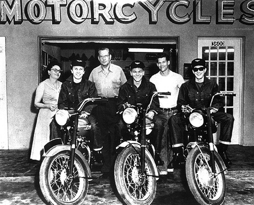 iloveretro:   Buddy Holly and his band The Crickets with their motorcycles