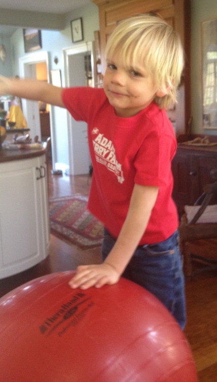 Charlie proudly wearing his Adams's Berry Farm T-shirt (red of course)