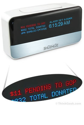 """Wifi Donation Alarm Clock: Connects via WiFi to your online bank account, and donates YOUR real money to an organization you HATE when you decide to snooze!"""