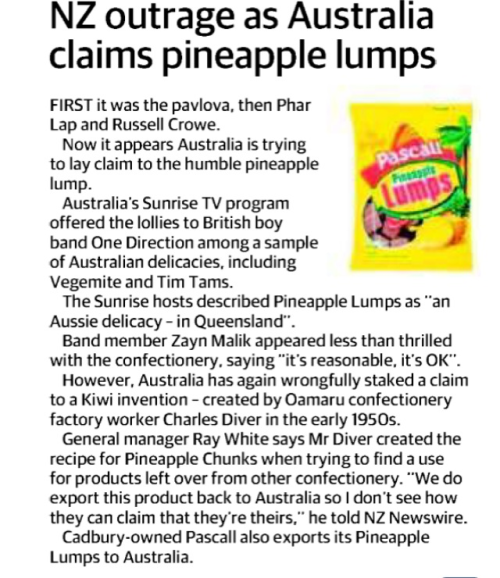 The Townsville Bulletin noticed something also spotted by many tweeps… Pineapple Lumps are not Aussie. #1D #1DonSunrise