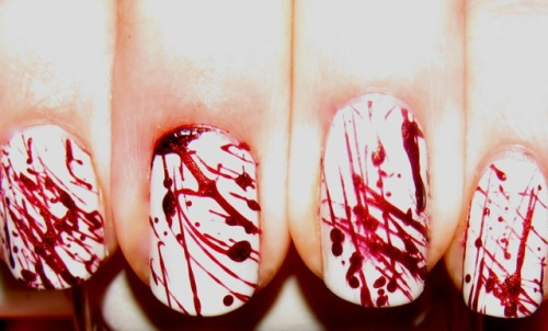 blondiesnails:  I found this on this site http://ipolished.blogspot.ca/2010/10/blood-splatter-expert.html . Check it out. I am so doing this design for my next tutorial. One of the guys I work with is stoked for this one.