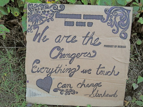 We are the  Changers Everything we touch   ❥    can change                   ~ Starhawk  :) Another of my protest signs from Occupy Santa Cruz!