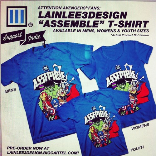 "Click on the LainLee3 Assemble Design to buy your shirt today!!  lainlee3design:  Hey guys!!! I'm happy to finally offer my ""Assemble"" design for sale! Go to http://lainlee3design.bigcartel.com to order yours. Unfortunately, no international shipping at this time. Sorry international homies!!! Orders placed by this Thursday will ensure delivery in time for the May 4th premiere! Avengers, ASSEMBLE!!! #lainlee3design #doodlelife #avengers #assemble #tshirttime  (Taken with instagram)"