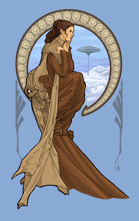 Princess Leia Nouveau Created by Karen Hallion Shirt available at welovefine. Tumblr || Twitter || Facebook