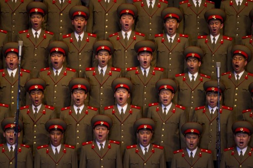 inothernews:  ANN-YAWN   A choir sang during a concert in Pyongyang, North Korea, Monday. The country is celebrating the birth centennial of its founder, Kim Il Sung. (Photo: David Guttenfelder / AP via the Wall Street Journal)