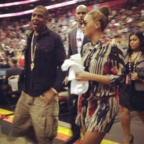 Beyoncè & Jay-Z at the Nets game April 16th