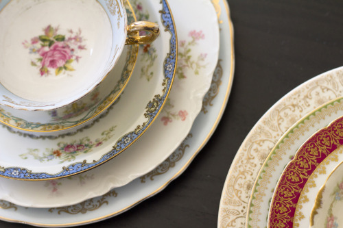 Beautiful mismatched china  vintage china for events
