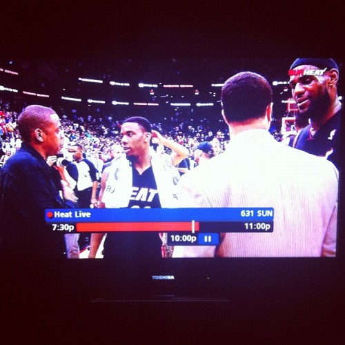 Best moment of the game.. Lebron introducing the rookie to Jay-Z.. @stackmack #jayz #lebron #miamiheat #lebronjames #norriscole #nba #basketball #awesomeness #awesome #tv #iphone4 #iphone (Taken with instagram)