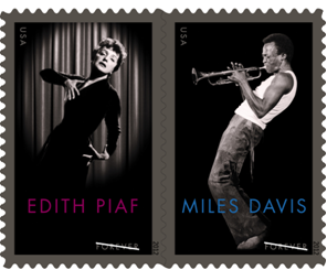 U.S. Postal Service and France's La Poste to Honor Renowned Musicians on Forever Stamps in June (via Miles Davis, Edith Piaf take center stage)