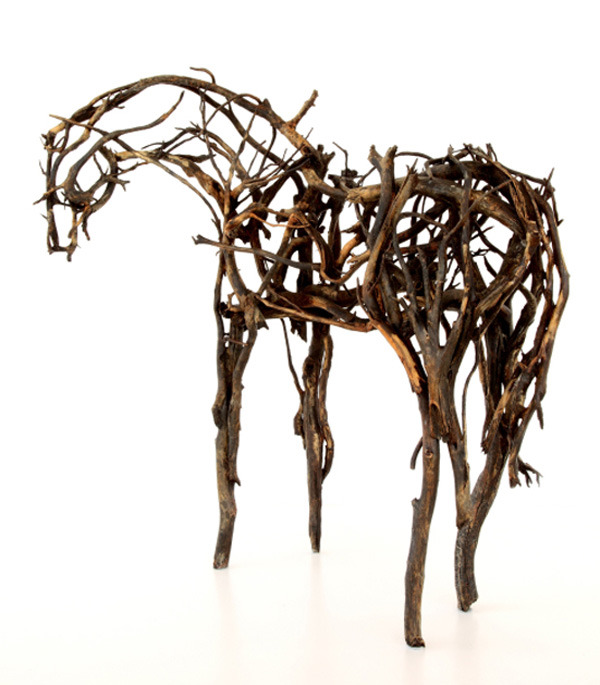 Deborah Butterfield assembles these striking horse sculptures using tree branches made from bronze.