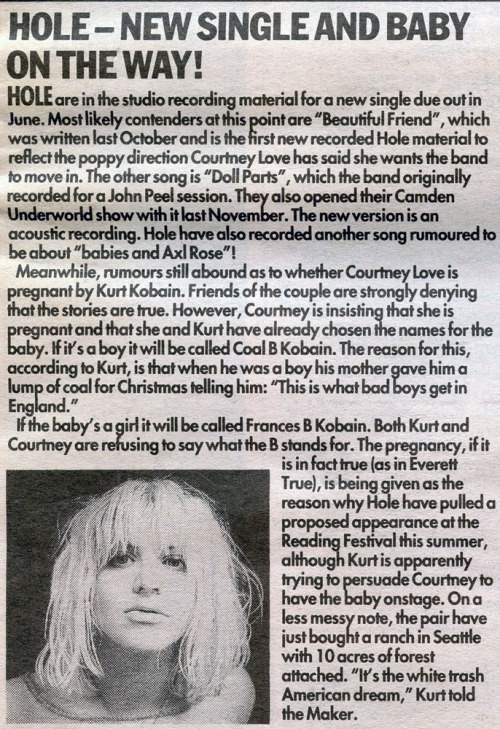 Hole & Courtney Love in Melody Maker, 1992.