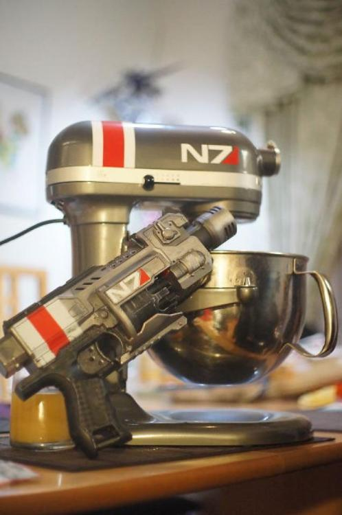 derlaine:  My boyfriend calibrated the KitchenAid Mixer and Nerf gun
