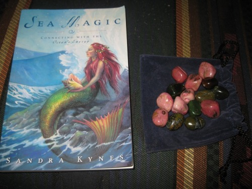 sea magic and bag of crystal beads! i love garage sales!  the stuff you can find is at the same time amazing and horrifying (just last week at a flea market i saw a guy selling bootleg pornos..  and one time i saw a lady selling a taxidermied badger..) i am interested to read this book because i've always connected strongly to the ocean, and am interested as to what it might say. the bag of crystals was $1 at an estate sale and there are some gorgeous rhodocrosite beads in there that will make lovely necklaces!
