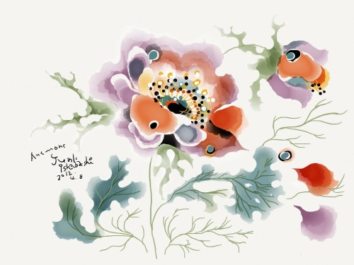 madewithpaper:  Flower anemone drawn by Semiviva. Wish we spoke Japanese so we could learn more about this beautifully imaginative illustration. This is something that only exists in the mind's eye.