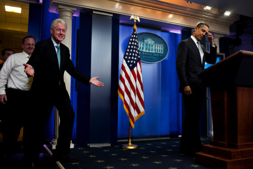 safetyscissorssuck:  Funny picture of Bill Clinton and Barack Obama  This photo seems to be getting a second life on Tumblr.  In case you're curious:  President Obama and former President Clinton make a surprise appearance in the briefing room of the White House, 12/10/10, photo by Drew Angerer.
