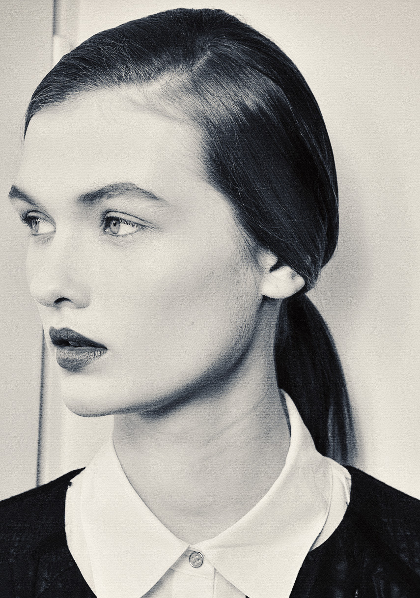 Lara Mullen backstage at Jil Sander