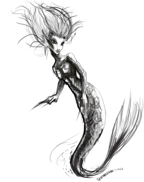 serenakenobi:  Mermaid concept art. WIP - rough sketch. (c) Serena Kay 2012.