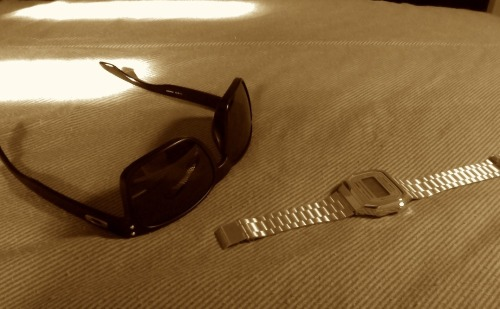 Oakley Holbrook and Casio digital gold watch.