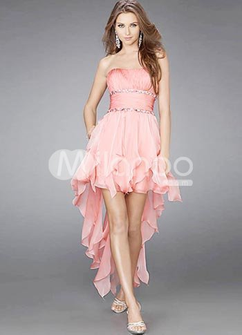 Glamorous Short Pink Strapless Chiffon Womens Homecoming Dress :  pink chiffon strapless short