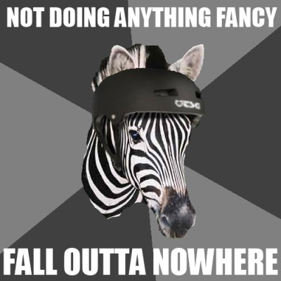 fuckyeahrollerderbyzebra:  inspired by a true story. seriously, wtf, body?   I don't know what you're talking about. There's no video. You can't prove anything.