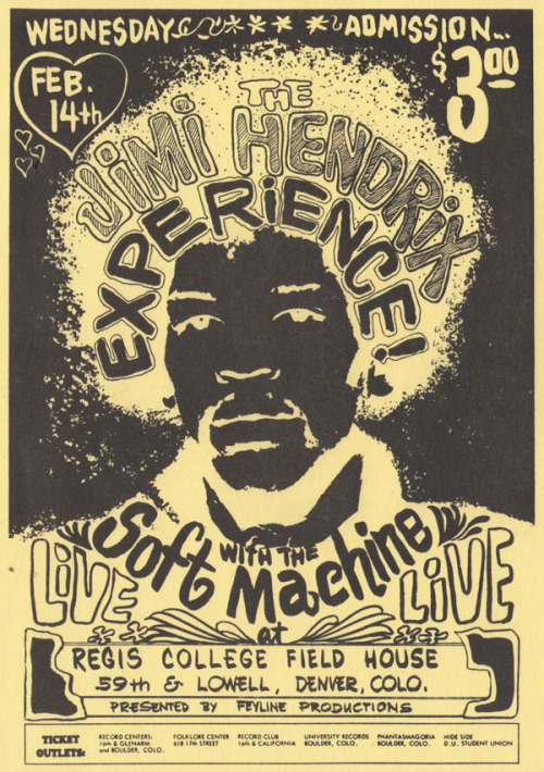 anima-oculos:  The Jimi Hendrix Experience and Soft Machine, 14 february 1968, Regis College Field House in Denver, Co