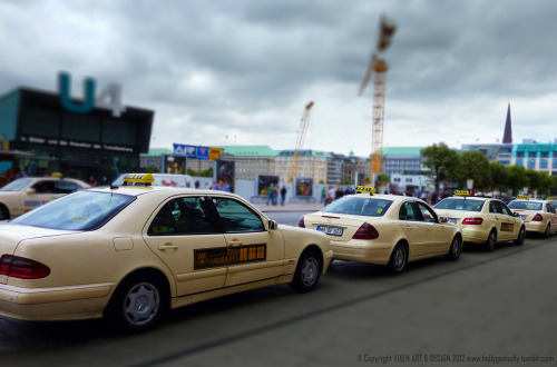 "Tilt & Shift #7  So I did another……  In the UK, our taxis (apart from the iconic Black Cab) are usually Japanese cars due to their reliability and economy. In Hamburg, Germany however, it's Mercedes all the way. I call these ""Devil Cabs"" due to the phone number emblazoned on the side :-$"
